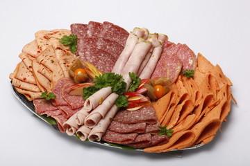 Partyplatte, Wurst, Schinken, Salami, für 4 Personen