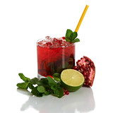 Cocktail with pomegranate juice, mint, and ice on white