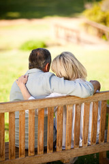 Elderly couple sitting on the bench with their back to the camer