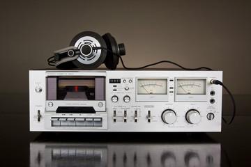 Vintage stereo cassette tape deck recorder