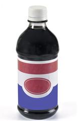 Botella  de vidrio con etiqueta