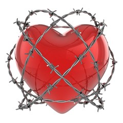 Red glossy heart surrounded by barbed wire 3d illustration