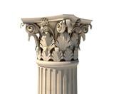 Corinthian column capital isolated on white poster