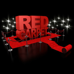 red carpet 3d illustration over over background