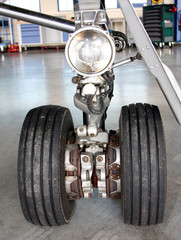 Close up of aircraft landing gear