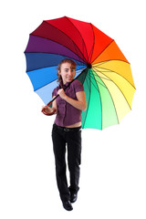 Smiling woman with colorful umbrella
