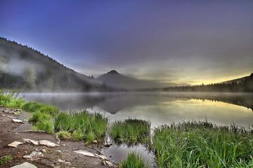 Foggy Sunrise at Trillium Lake with Mount Hood