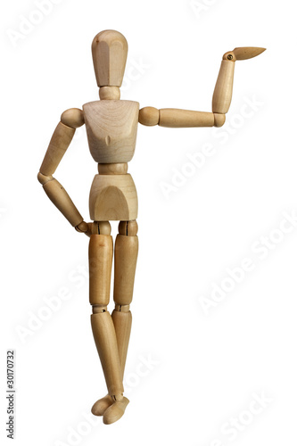 Wooden mannequin using one hand to support isolated on white