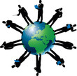 Vector Silhouette Of Business People And Globe