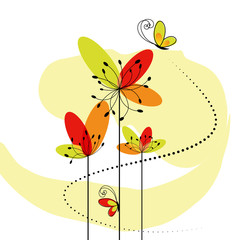 Abstract springtime flower with butterfly