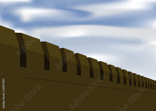 Fortress wall on a background sky
