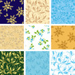 set of various vector seamless patterns with flora