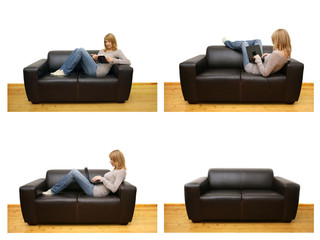 woman relaxing on couch, working with laptop and reading book