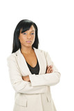 Serious black businesswoman with arms crossed