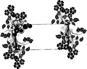 cadre de fleurs noirs