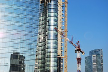Modern skyscrapers construction site, Milan, Lombardy, Italy