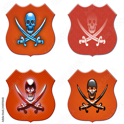 pirate symbols on the shield