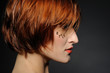 style.Beautiful woman portrait with fashion hairstyle and creati