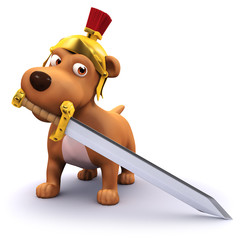 3d Dog thinks he's a Centurion