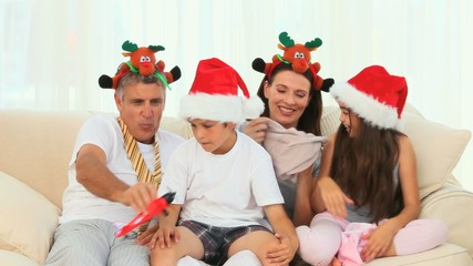 Family laughing during the Christmas day