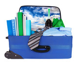 Travel blue business suitcase packed for trip poster