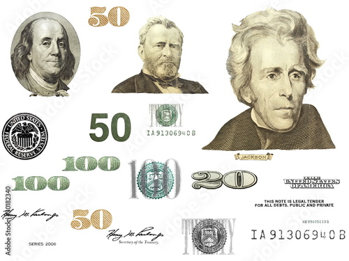 Photo dollar bill elements isolated on white background