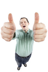 Cheerful young male gesturing OK sign with both hands