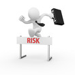 Businessman jumping over a hurdle obstacle titled risk