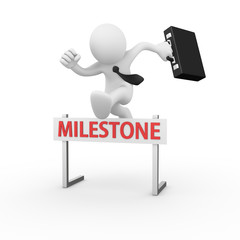 Businessman jumping over a hurdle obstacle title milestone