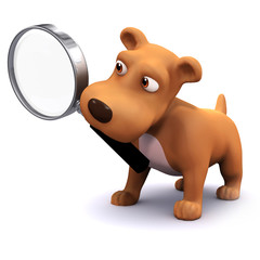 3d Dog searches with a magnifying glass