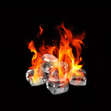 Ice cubes on fire