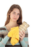 Beautiful girl rubs a vase with yellow cloth poster