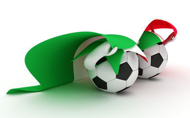 Two soccer balls hold Italy flag
