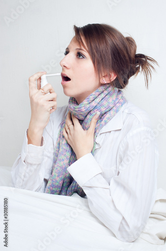 Girl with a sore throat