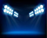 Fototapety Blue spotlights. Vector illustration.