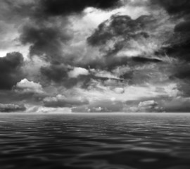 Dark sea and sky