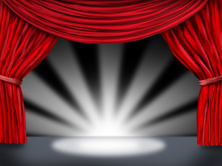 red velvet curtain drapes introducing  with star burst