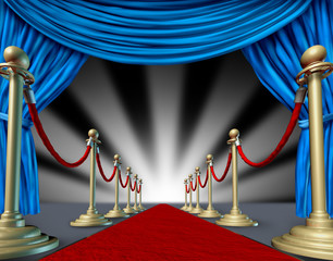 red carpet blue velvet curtain presenting theater stage