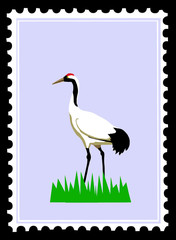 white crane on postage stamps