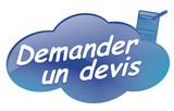 demander un devis sur bouton design nuage bleu poster