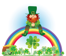 Leprechaun on rainbow