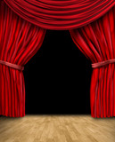 red curtain drapes with wood floor and black background