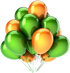 Party balloons green and orange. Patrick's Day decoration