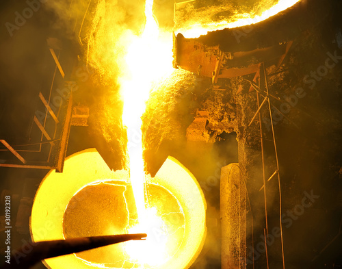 Molten hot steel pouring. - 30192328