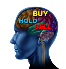 brain financial decision to buy sell hold stock market