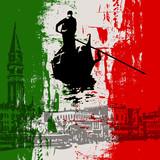Italian Flag and ventian views
