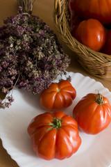 "italians  tomatoes  ""cuore di bue""  with origan, ligury, italy"