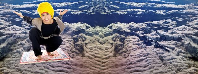 boy on a flying magic carpet