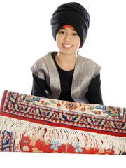 smiling boy on a flying magic carpet