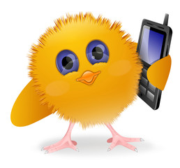 Chick with mobile phone
